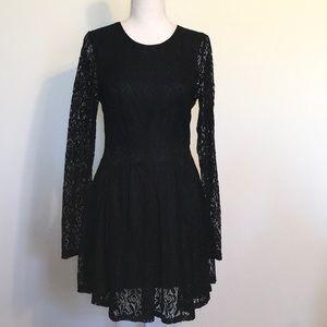 Altar'd State Black Lace Fit & Flare Mini Dress